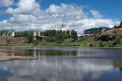 Kremlin of Verkhoturye on the shore of Tura River Royalty Free Stock Photos