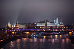 Kremlin view from Patriarshii bridge at winter Royalty Free Stock Images