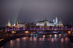 Kremlin view from Patriarshii bridge at winter Royalty Free Stock Images