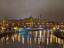 Kremlin view from the river at night. Stock Photos