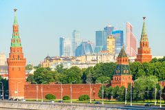 Kremlin and view of skyscrapers Royalty Free Stock Photos