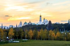 Kremlin view during the sunset, from Zaryad`ye recreation park. Kremlin view during the sunset from Zaryad`ye recreation park, featuring cathedrals and other Royalty Free Stock Photos