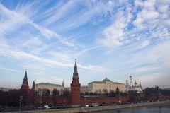 Kremlin views of the Moscow river Royalty Free Stock Images