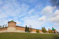 Kremlin wall. The south-west corner of the kremlin in Nizhny Novgorod, Russia Royalty Free Stock Photo