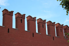 Kremlin wall. Battlements of the Kremlin wall on the background of blue sky Royalty Free Stock Photography