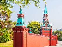 The kremlin wall and  the clock tower of Russia Stock Photo