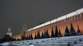 Kremlin wall. The famous clock tower and red star on top. Mausoleum of Lenin. 4K. Kremlin wall. The famous clock tower and red star on top. Mausoleum of Lenin stock video footage
