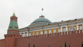 Kremlin wall and government building behind it in red square in Moscow. Russia, fall day stock video footage