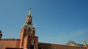 Kremlin wall and government building on Red Square in Moscow. Red Square in Moscow, the capital of Russia on a sunny. Kremlin wall and government building on Red stock video footage