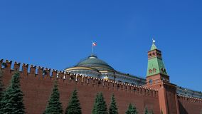 Kremlin wall and government building on Red Square in Moscow. The symbol of the capital of Russia, on a sunny summer day. Kremlin wall and government building on stock video
