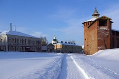 Kremlin wall in Kolomna in winter Stock Image