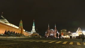 Kremlin Wall and mausoleum,people winter evening stock footage
