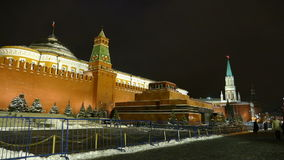 Kremlin Wall and mausoleum, winter evening stock footage