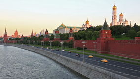 Kremlin wall in Moscow at sunset stock video footage