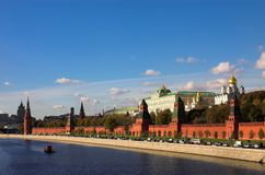 Kremlin wall and Moskva river Royalty Free Stock Images