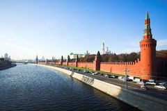 Kremlin wall and Moskva river Royalty Free Stock Photography