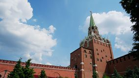 Kremlin wall on Red Square in Moscow. The symbol of the capital of Russia, on a sunny summer day. City center, downtown. stock footage