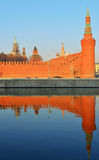 Kremlin Wall and reflection in Moskva river Royalty Free Stock Photo