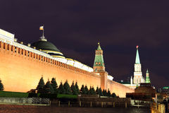 Kremlin wall, Senate and Senate tower, Nikolskaya tower and Leni Royalty Free Stock Images