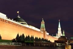 Kremlin wall, Senate and Senate tower, Nikolskaya tower and Leni Royalty Free Stock Images