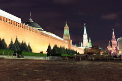 Kremlin wall, Senate and Senate tower, Nikolskaya tower and Leni Stock Photo