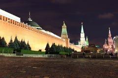Kremlin wall, Senate and Senate tower, Nikolskaya tower and Leni Stock Photo