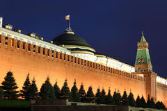 Kremlin wall, Senate and Senate tower in Red Square, Moscow, Rus Royalty Free Stock Image