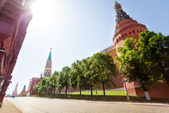 Kremlin wall surrounded by trees in summer Royalty Free Stock Photo