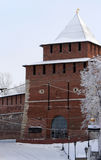 Kremlin wall and Tower Ivanovskaya at Nizhny Novgorod in winter. Stock Image