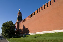 Kremlin wall and tower Nabatnaya in Moscow Royalty Free Stock Images
