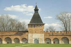 Kremlin wall with tower in Tula. Russia Royalty Free Stock Image