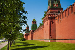Kremlin wall view with green trees and grass Stock Image