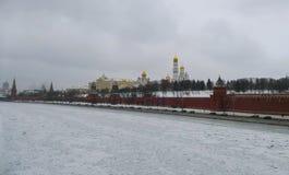 Kremlin Wall in winter, snow. Riverfrozenice royalty free stock photos