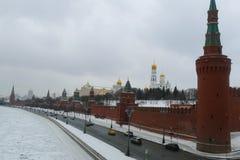 Kremlin Wall in winter. Snow riverfrozenice royalty free stock photo