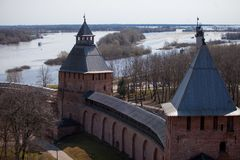 Kremlin walls in Novgorod the Great, Russia. top Stock Images