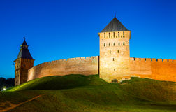 The Kremlin walls in Veliky Novgorod Stock Image
