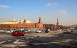 Kremlin walls and view Borovitskaya tower. Royalty Free Stock Photos