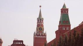 Kremlowski kurantowy zegar na Spasskaya wierza moscow Rosja zbiory