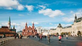 Kremltorn, histrical museum och centallager från timelapse för röd fyrkant i Moskva, Ryssland lager videofilmer