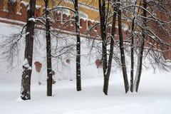 Kremlväggen rappas fullständigt med snö under tungt snöfall Arkivfoton