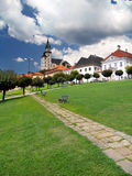 Kremnica城堡走道和塔  库存照片