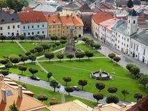 Kremnica城镇鸟瞰图在夏天 免版税图库摄影