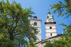 Kremnica  - The outlook to castle and St. Catherine church and the town Royalty Free Stock Photos
