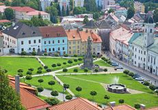 Kremnica - The outlook from the tower of the Castle to the town and Safarikovo square Stock Photography