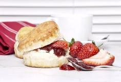 Kremowa herbata - scones z dżemem Obraz Stock