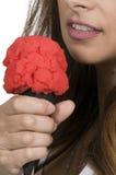 kremowa kobieta lodu jedzenia Fotografia Stock