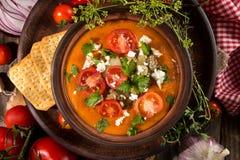 Kremowa puree polewka od piec pomidorów, oberżyny, pieprz, czerwony oni Zdjęcia Stock