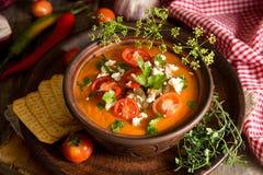 Kremowa puree polewka od piec pomidorów, oberżyny, pieprz, czerwony oni Zdjęcie Royalty Free