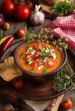 Kremowa puree polewka od piec pomidorów, oberżyny, pieprz, czerwony oni Fotografia Stock