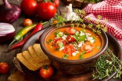 Kremowa puree polewka od piec pomidorów, oberżyny, pieprz, czerwony oni Zdjęcia Royalty Free